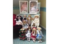Collection of 12 Collectable Dolls, The Promenade & Leonando Collection.