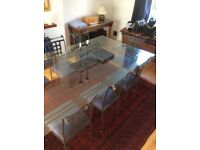 Dining Table with 8 chairs - Glass with Metal Frame for 8-12 people