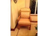3 piece plus two 1 seater gold/yellow conservatory furniture in perfect condition, rarely used