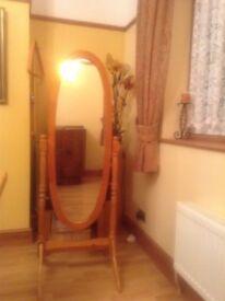 Free standing pine mirror