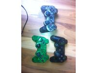 3x PS3 / Playstation 3 Controllers Official (All Customised & Faulty READ ME)
