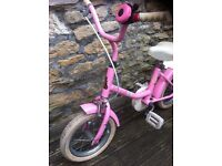 pink girl raleigh bike with stabiliser age 3-6