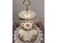 Green Floral Bone China 3 Tier Stand