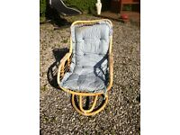 Two comfy cane chairs, slight rockers