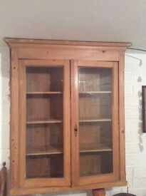 Antique pine wall display cabinet