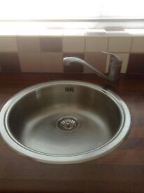 Stainless steel round inset sink