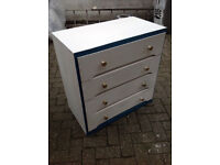 Solid wood four drawer chest. Blue and white. Only £25. Nautical look. Recently painted.