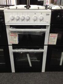 Beko 50 cm white gas cooker. 4 ring hob. £249. New/graded 12 month Gtee