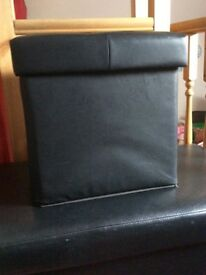 SMALL LEATHER EFFECT BLACK OTTOMAN