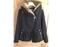 Karen Millen coat with faux fur collar size 14
