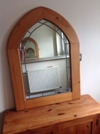 Wooden arched shape mirror with lead inlay