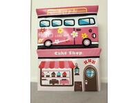 Pink toy boxes / storage - ice cream van & VW love bus peace style