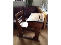 Antique Victorian child's school desk and chair, solid oak, lovely rare find full of character