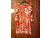 Wallis orange tunic top/dress medium (14) BNWT