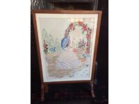 Vintage tapestry fire screen and table.
