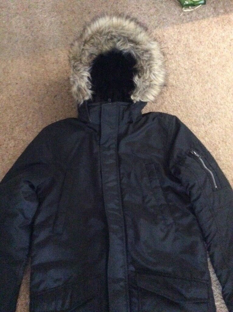 d046f8120 Boys black parka coat. Age 14-15yrs.