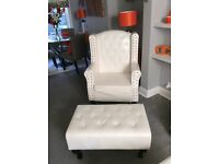White chesterfield like chair and stool as new only selling as bought a recliner