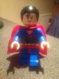 Lego Superhero Superman mini figure alarm clock