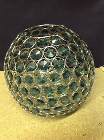 Large teal beaded ball light shade