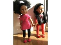 2 Designer Friends dolls with clothes and accessories