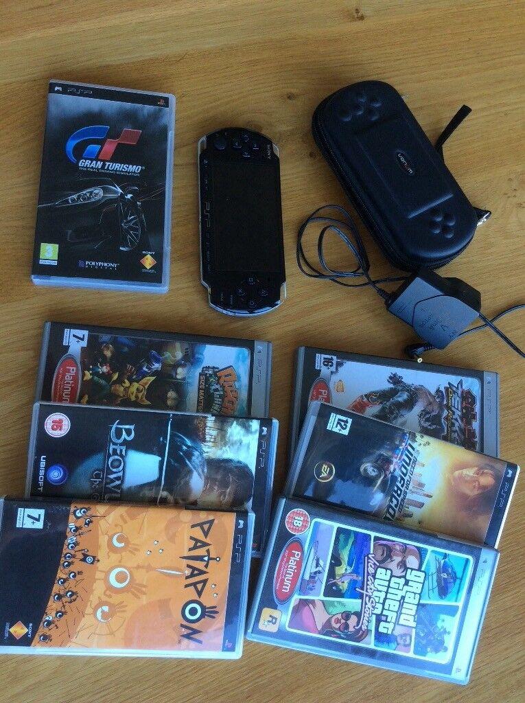 PSP 3000 WiFi Venom Case 2 Gig Memory Card 7 Games And All