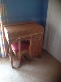 Unusual Child's Desk wit roll top, drawer, cupboard, & Swivel Chair. Made 1960's. Great condition