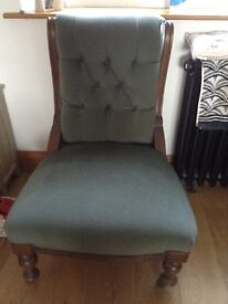 Beautifully recently upholstered Victorian fireside chair