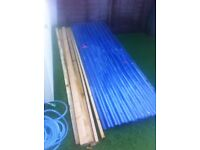 10 x clear corrigated roofing sheets plus timber and fixings