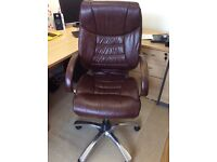 2 Brown leather office chairs