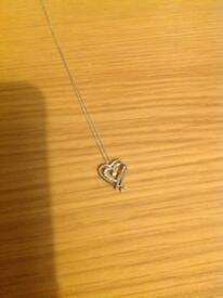 9ct white gold cubic zirconia heart pendant necklace