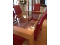 Luxury glass dinning table and 6 chairs
