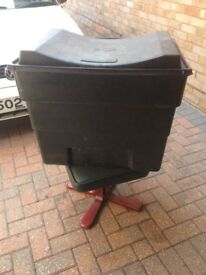 Black plastic water storage tank/box