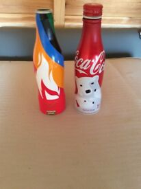 Empty collectible coke cola bottles