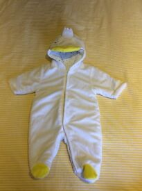 Padded baby pram suit, excellent condition, newborn size.