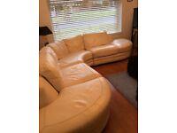 Corner White Leather DFS sofa