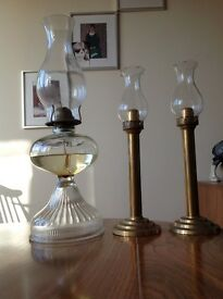 OLD GLASS OIL LAMP.........TWO CANDLE HOLDERS