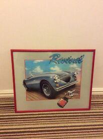 Retro framed car poster