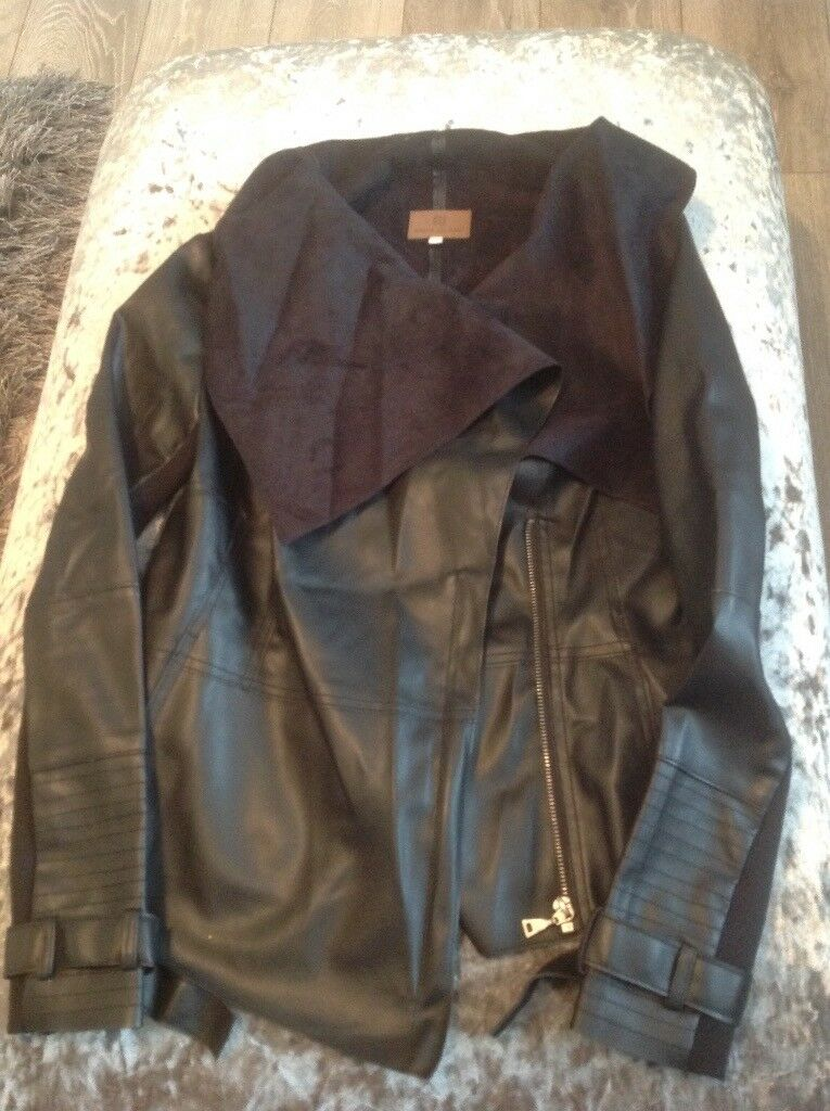 Ladies river island leather look jacket size 10