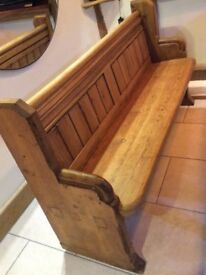 Oak church pew with padded seat cover