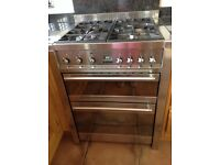 Cooker smeg gas hob and double fan ovens plus smeg cooker hood