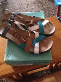 Ladies Clarks Leather Sandals Size 8