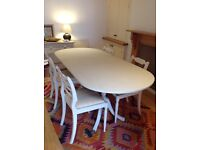Dining table and chairs. Shabby Chic extending table