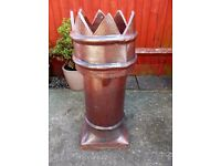Tall Glazed Terracotta Crown Top Chimney Pot VGC - cash on collection from Gosport Hampshire