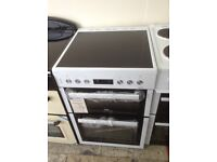Beko white freestanding double oven electric cooker. 60cm. Ceramic hob. New/graded 12 month Gtee