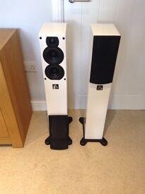 Leema acoustics Xone floor standing speakers, gloss white.