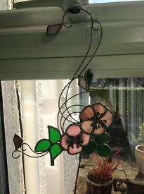 **Reduced Price ** Floral Stain Glass can be hung or clipped around a mirror