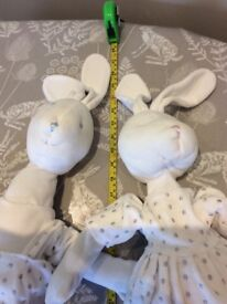 2 x large rabbit soft toys