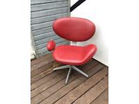 Funky Leather Retro Chair With Metal Half Swivel Legs (Cash On Pick Only).