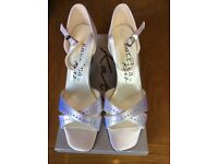White satin bride/wedding/prom shoes. Katrina by Katz. Sandal/strappy/diamanté BNIB