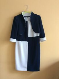 Designer Dress & Jacket - Claudia C, Barcelona - navy/white - size 12 - worn once - as new